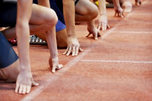 Athletes At The Sprint Start Line